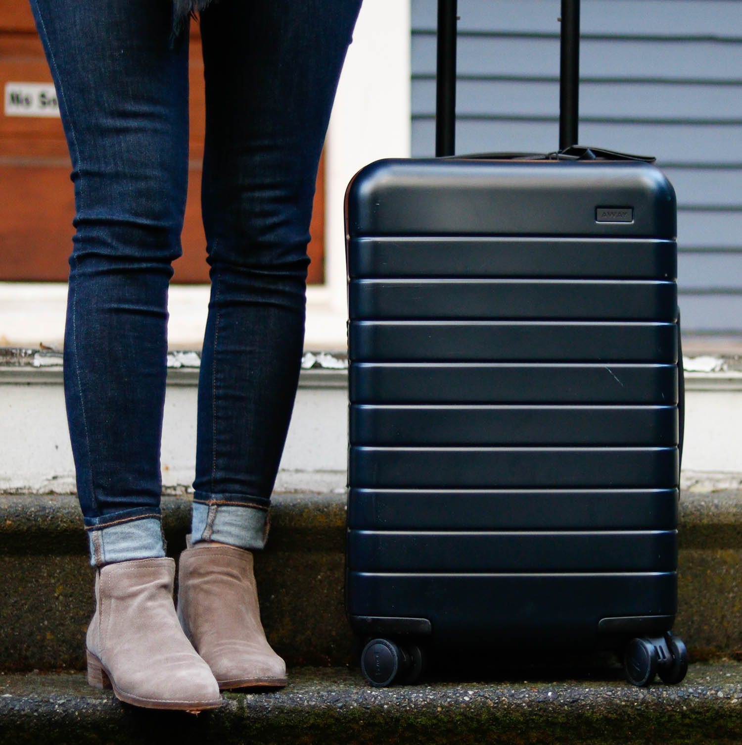 Away carry on bag review by popular Washington DC style blogger Cobalt Chronicles