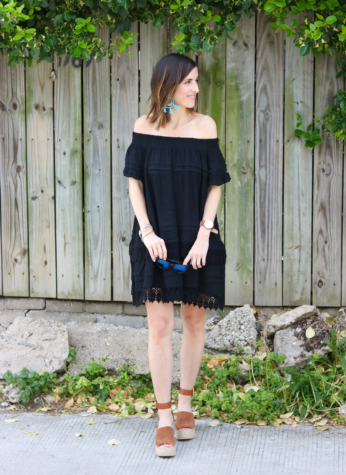 Black Off the Shoulder Dress @cobaltchronicle