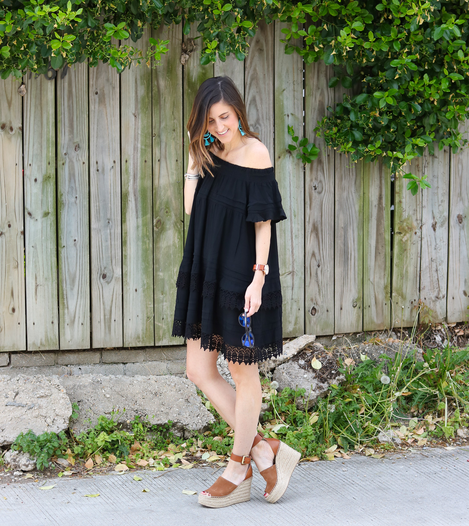 Black Off the Shoulder Dress @cobaltchronicle
