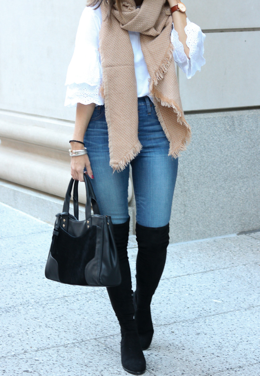 Oversized Scarf | Black Bag | Over the Knee Boots