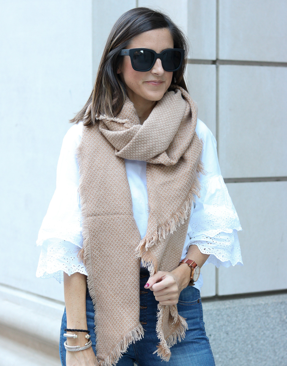 Oversized Camel Scarf for Fall