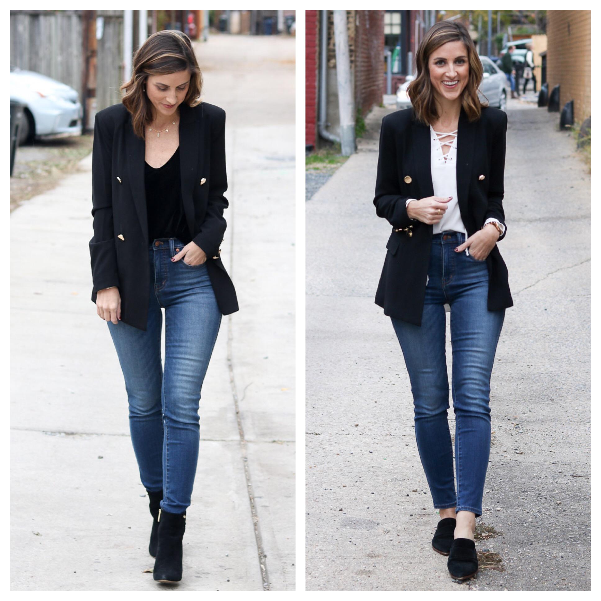 Black Blazer Styled Two Ways