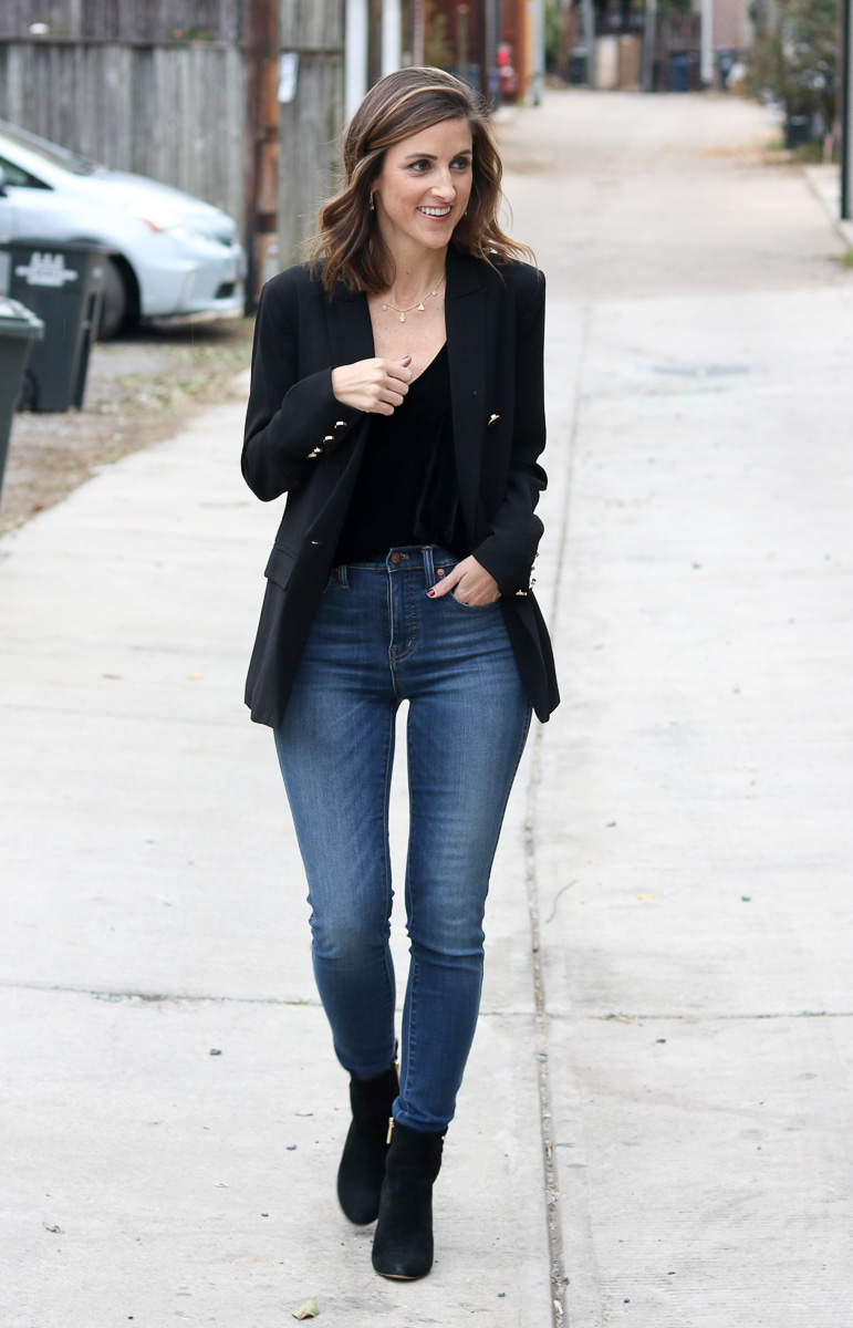 Black blazer with denim jeans